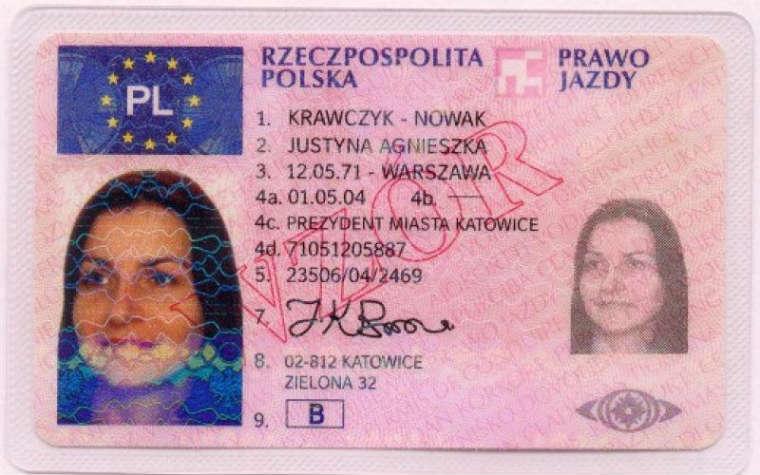 Wzór dokumentu prawo jazdy