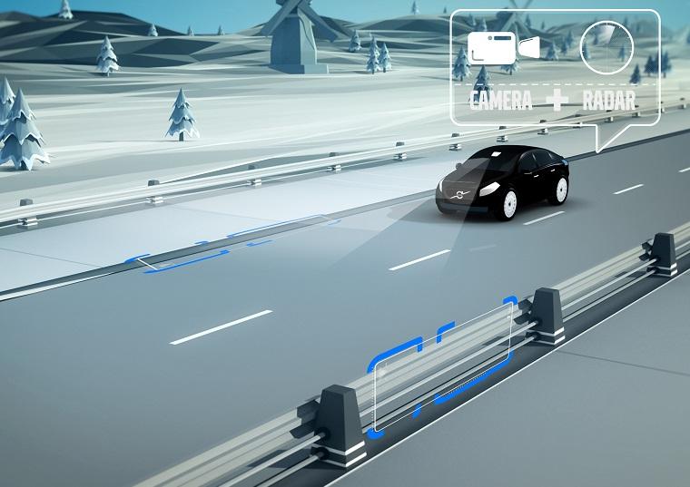 System wykrywający krawędź jezdni i bariery - Volvo