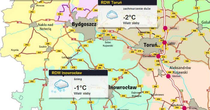 Mapa zimowego utrzymania dróg w Kujawsko-Pomorskiem