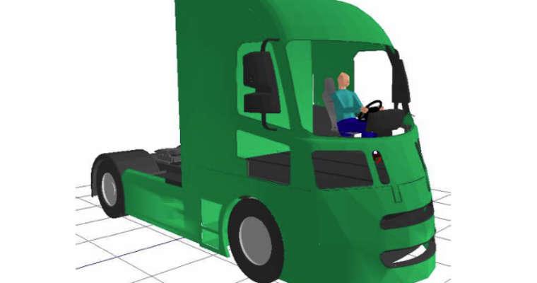 Projekt kabiny ciężarówki minimalizujący martwe pola widzenia kierowcy opracowany na Loughborough University's Design School