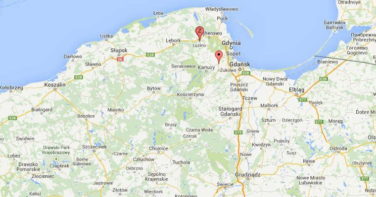 Luzino i Miszewo na mapie