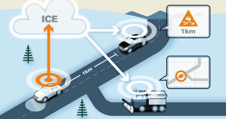 Projekt Volvo oraz szwedzkiej i norweskiej administracji zakłada dzielenie informacji między pojazdami dzięki chmurze danych. Źródło: Volvo