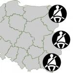 Zapinanie pasów w Polsce, mapa