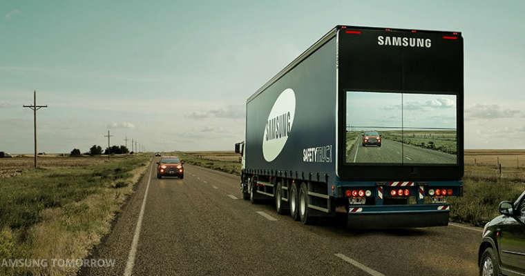 Ciężarówka z systemem firmy Samsung, która wyświetla na ekranach sytuację na drodze. Źródło: global.samsungtommorow.com