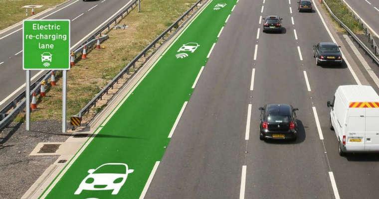 Wizualizacja pasa do ładowania samochodów elektrycznych. Fot. Highways England