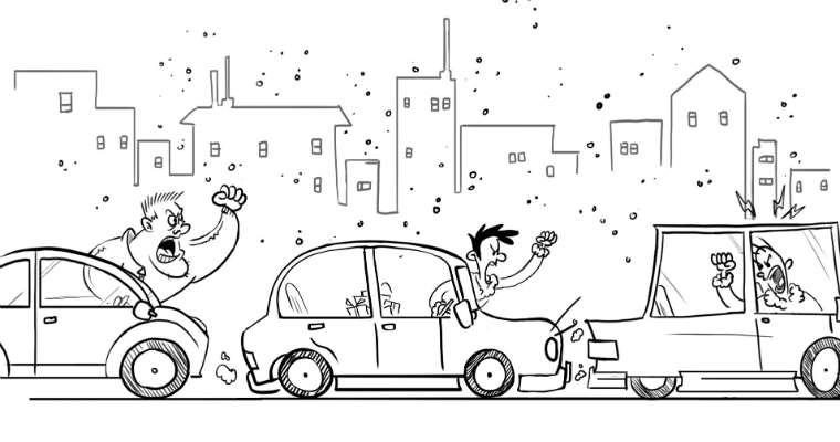 Agresywne zachowania jednych kierowców skłaniają innych do odreagowania na kolejnych uczestnikach ruchu. Źródło: Goodyear