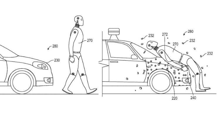 Patent firmy Google na ochronę pieszych przy zderzeniu z samochodem autonomicznym