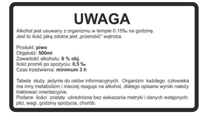 Przykładowa etykieta autorstwa naszego czytelnika Krzysztofa Naleźniaka