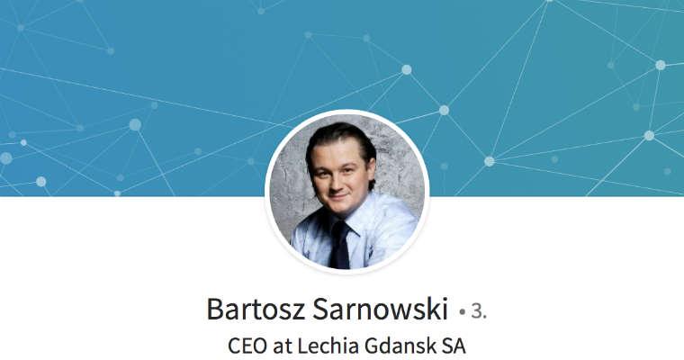 Bartosz Sarnowski, prezes Górnika Zabrze. Żródło: LinkedIn