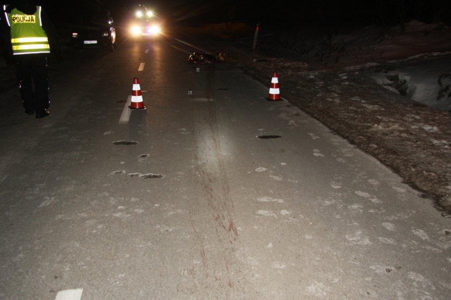 Śmiertelne potrącenie pieszej w Bogatkach (gm. Piaseczno). Fot. policja