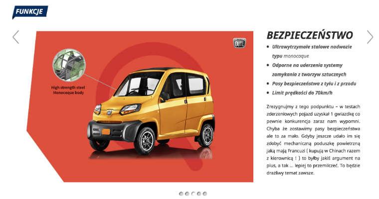 Opis pojazdu Qute firmy Romet i Bajaj. Fot. screen www.bajaj.pl