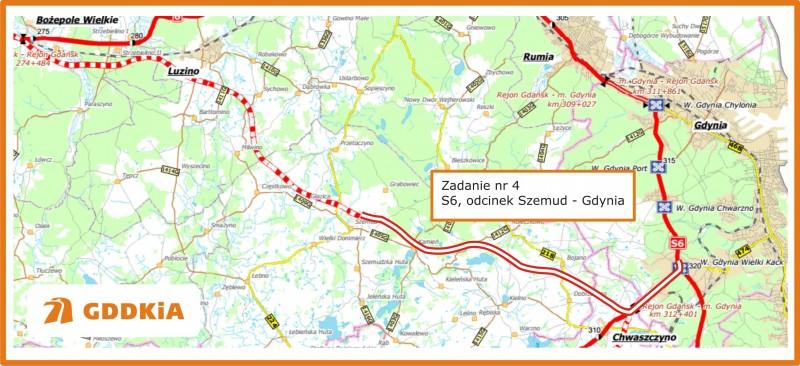 Mapa budowy odcinka S8 realizowanego do tej pory przez Salini Polska. Źródło: GDDKiA