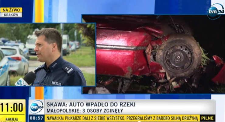 Troje nastolatków zginęło w nocy w wypadku w miejscowości Skawa. Źródło: TVN24