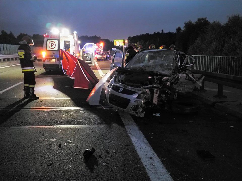 Śmiertelny wypadek na autostradzie A4, który spowodował kierowca jadący pod prąd. Źródło: Facebook/OSP Balice