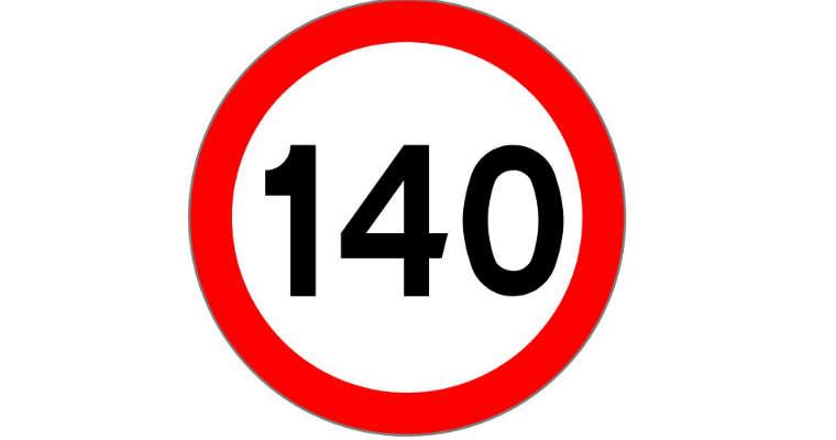 140 km/h znak ograniczenie prędkości