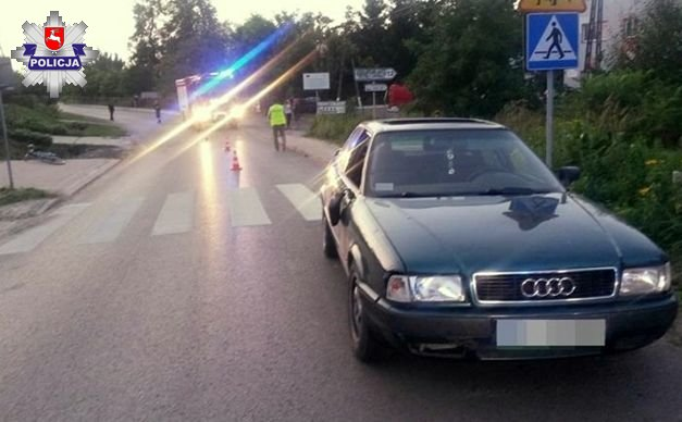 Potrącenie rowerzystki w miejscowości Dzierzkowice Wola (Lubelskie). Fot. policja