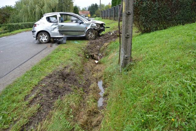 Wypadek w miejscowości Żeglce. Fot. Policja