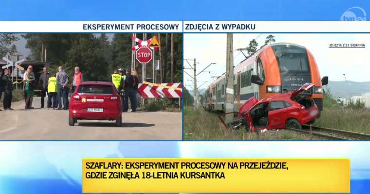 Eksperyment procesowy po wypadku podczas egzaminu na prawo jazdy w Szaflarach. Źródło: TVN24