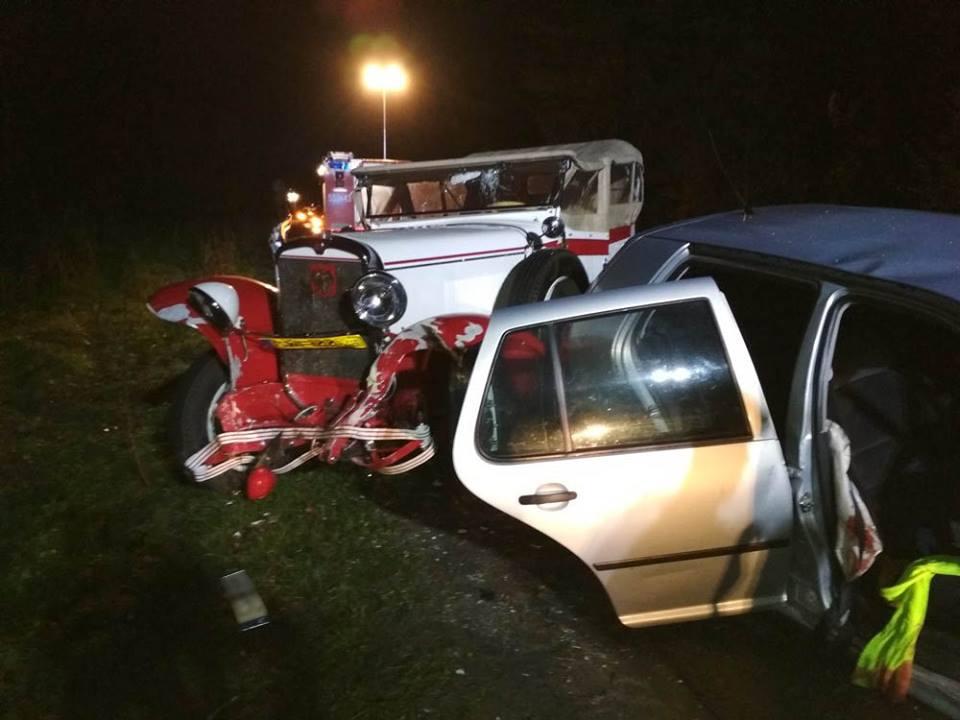 Zniszczona replika samochodu CWS T-1. Źródło: Facebook
