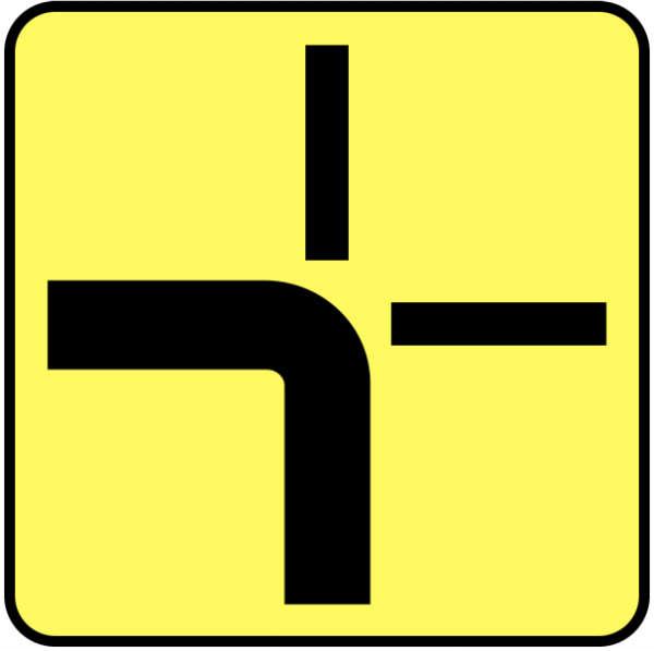Znak T6a - tabliczka wskazująca rzeczywisty przebieg drogi z pierwszeństwem
