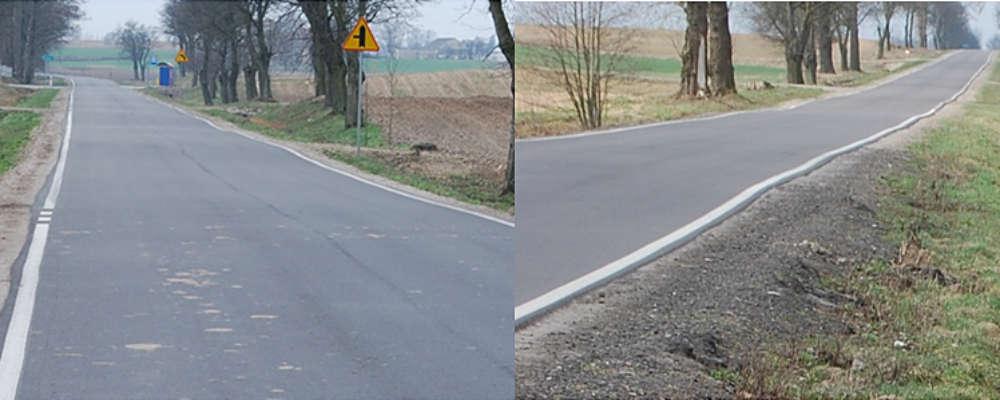 Falująca nawierzchnia zmodernizowanej drogi w powiecie rypińskim. Fot. Materiały kontrolne NIK