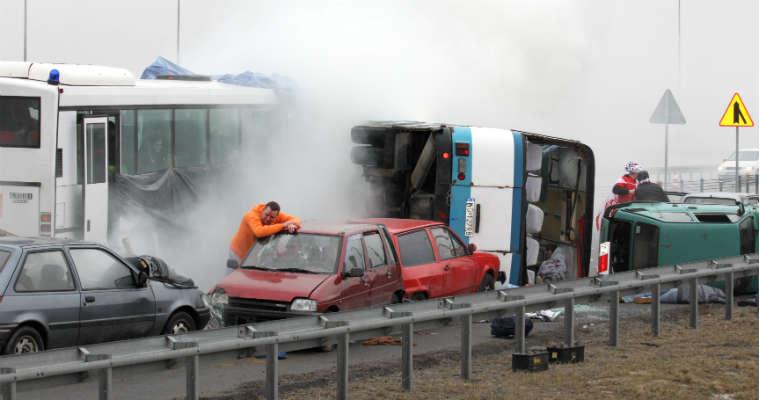 Ćwiczenia ratunkowe na autostradzie A1 w 2013 r. Źródło: GDDKiA