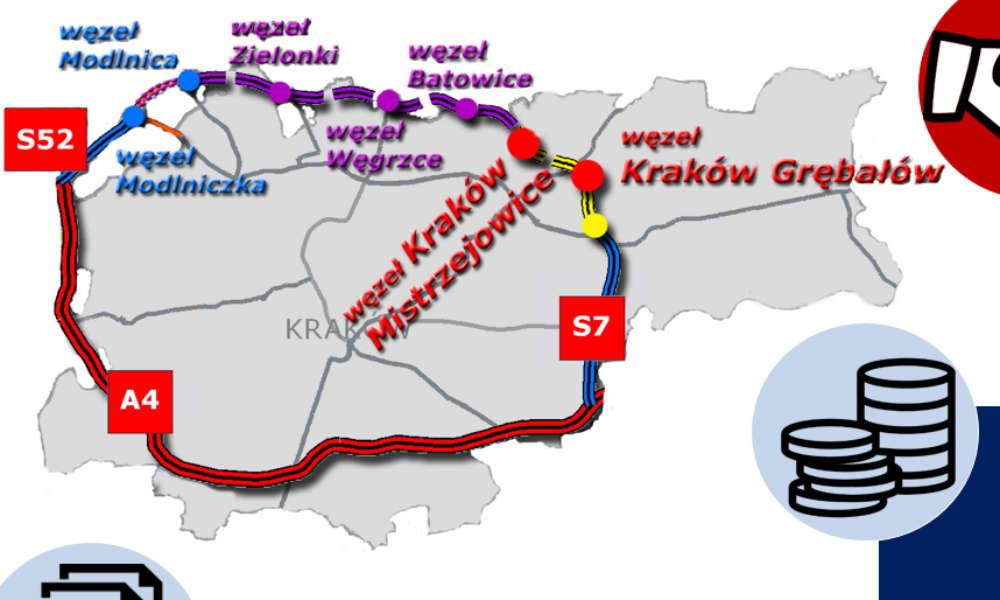 Plan obwodnicy Krakowa. Źródło: GDDKiA