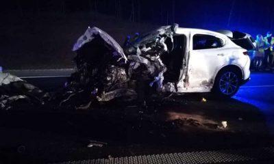 Śmiertelny wypadek spowodowany jazdą pod prąd na S8. Fot. Facebook/OSP Perzów