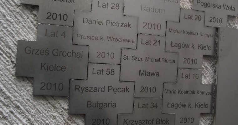 Tabliczki upamiętniające ofiary wypadków drogowych na pomniku w Zabawie. Fot. Brd24.pl
