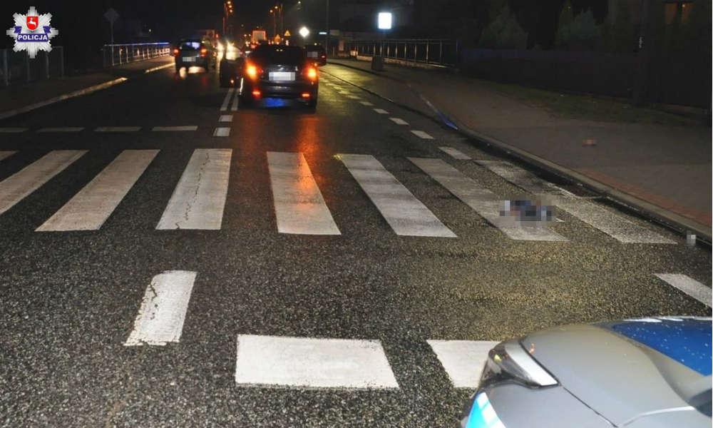 Kierowca śmiertelnie potrącił 67-latka na przejściu dla pieszych w Łukowie. Fot. Policja