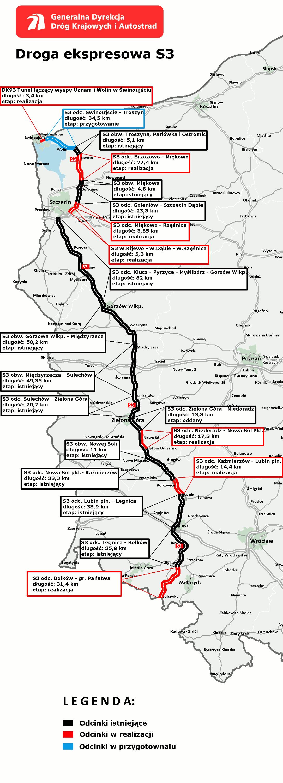 Mapa przebiegu i budowy drogi S3. Źródło: GDDKiA