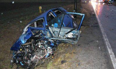 Kierowca z dwoma zakazami jazdy doprowadził do wypadku w miejscowości Kąpiele Wielkie Fot. Policja