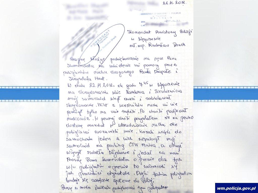Listo z podziękowaniami dla policjantów z Węgorzewa. Fot. Policja