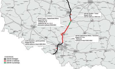 Mapa autostrady A1 z odcinkami w realizacji i odcinkiem, na który ogłoszono przetarg. Źródło: GDDKiA