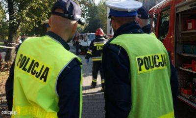 Policyjne ćwiczenia podczas symulowanego wypadku w Rydułtowach. Fot. Policja