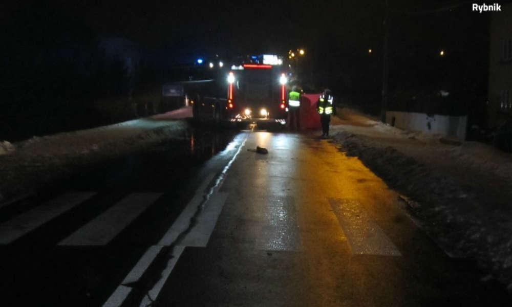 Śmiertelnie potrącona piesza w Rybniku. Fot. Policja