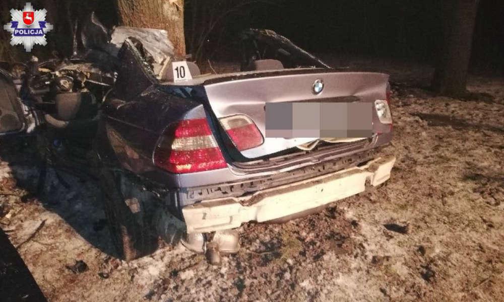 Śmiertelny wypadek kierowcy BMW w miejscowości Tuligłowy. Fot. Policja