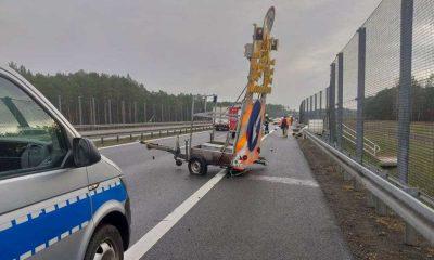 Wypadek na drodze S3 z robotnikami prowadzącymi prace. Fot. OSP Skwierzyna