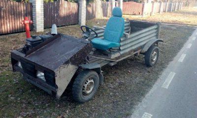 Dziwny pojazd mieszkańca gminy Cyców przyciągnął uwagę drogówki. Fot. Policja