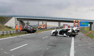 Wypadek na autostradzie A1 w 2017 r. Fot. Policja