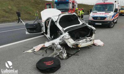 Wypadek na autostradzie A2. Fot. OSP Luboń