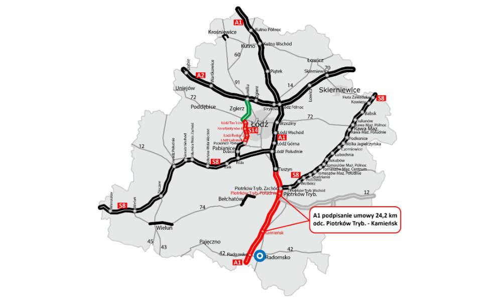 Mapa z ostatnim odcinkiem A1, na który podpisano umowę Źródło: GDDKiA