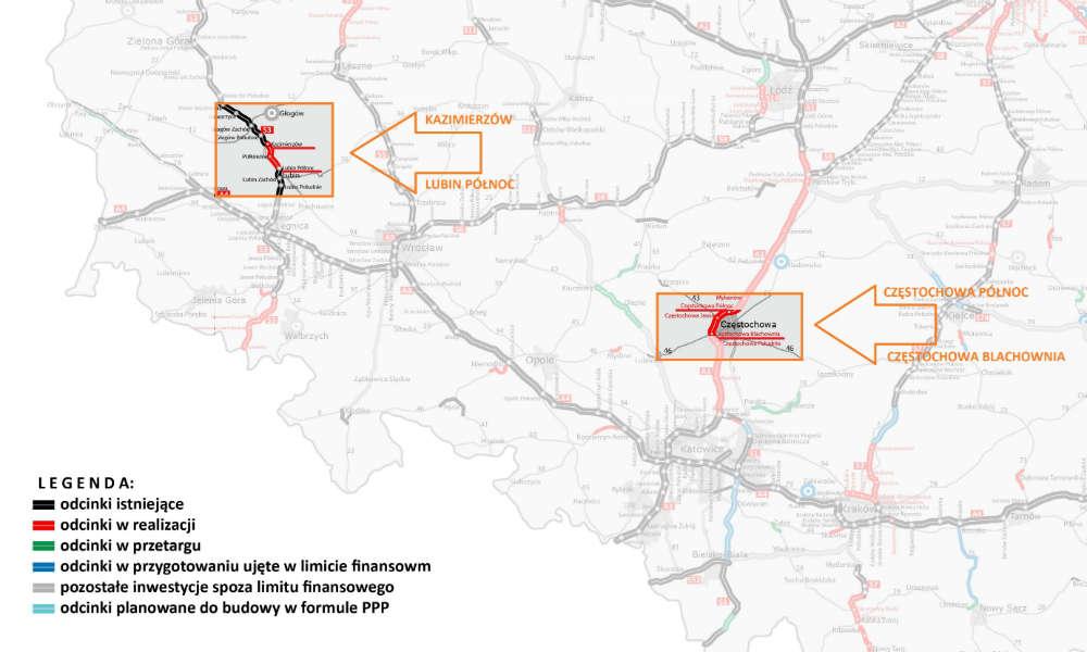 Mapa budowy odcinków A1 i S3 przez konsorcjum z liderem Salini Polska. Źródło: GDDKiA