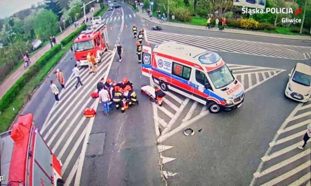 Potrącenie motocyklisty w Gliwicach. Kierowca był pijany i uciekł z miejsca wypadku Fot. Policja