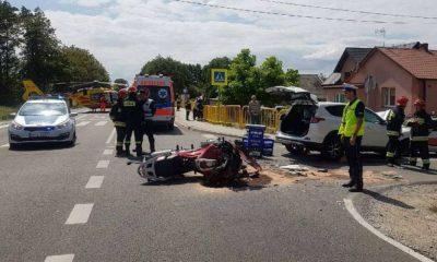 W wypadku w Wełninie zginął jadący na motocyklu komendant powiatowy policji w Mikołowie. Fot. Policja