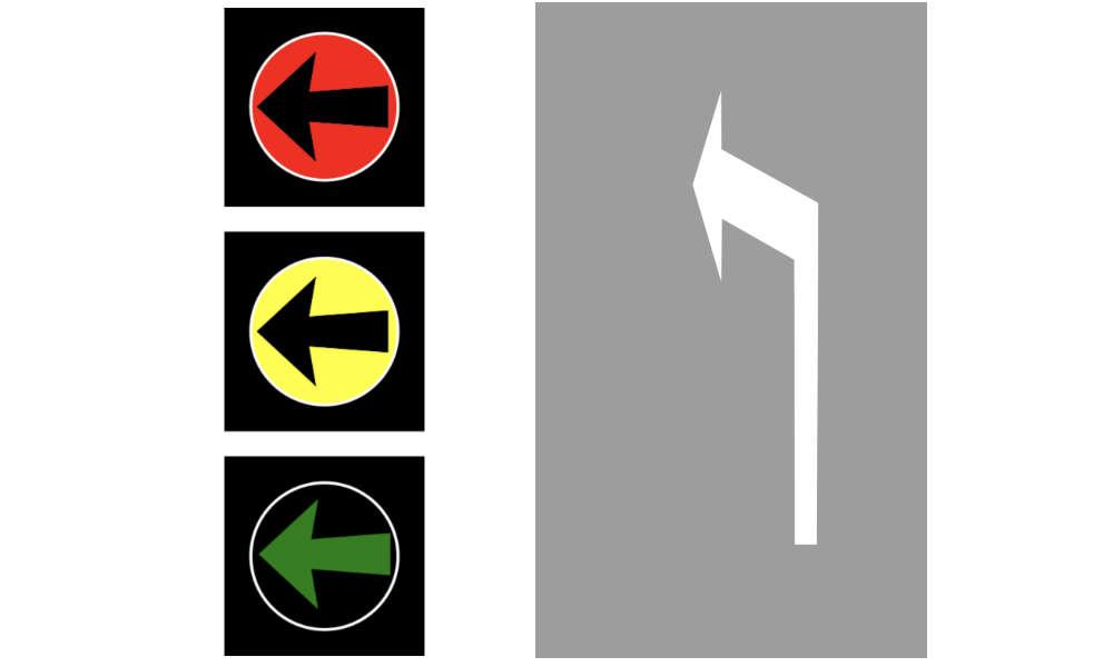 Jeśli jedzie się pasem oznakowanym poziomą strzałką wskazującą kierunek jazdy w lewo i jest nad tym pasem sygnalizator S-3, to kierowca nie może na takim skrzyżowaniu zawracać. Może tylko pojechać w lewo.