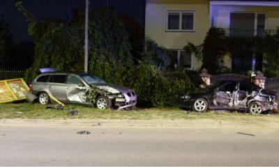 Pijany 14-latek uciekał BMW przed policją w Łukowie. Uszkodził dwa inne samochody. Fot. Policja