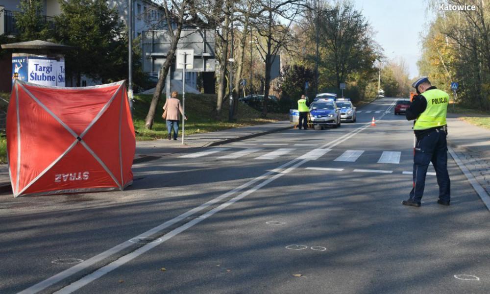 90-letni pieszy zginął potrącony na przejściu dla pieszych w Katowicach. Fot. Policja