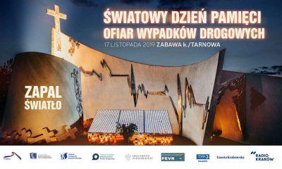 Światowy Dzień Pamięci Ofiar Wypadków Drogowych - plakat zapowiadający wydarzenie w Zabawie w 2019 r.