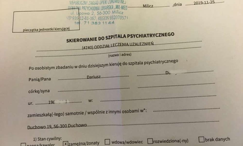 Urzędnik z Milicza opublikował swoje skierowanie na oddział leczenie uzależnień Źródło:Facebook/Gmina Milicz